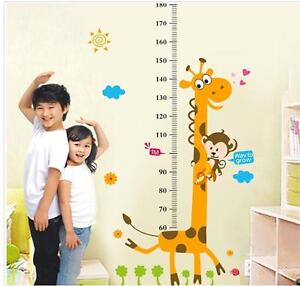 Removable Height Chart Measure Wall Sticker Decal for Kids Baby Room Giraffe LN