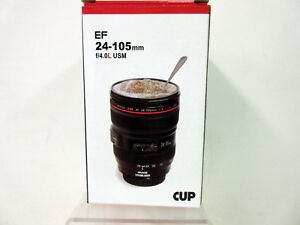 Coffee Mug Camera Lens Travel Thermos Stainless Steel Insulated Cup 13.5oz Black