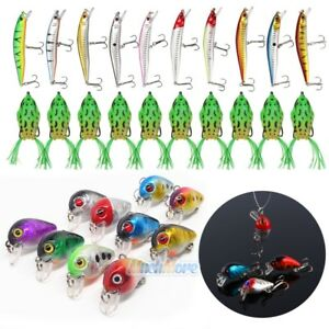 Lot 30 PCS Fishing Lures Crankbaits Treble Hooks Minnow Baits Tackle Bass Minnow