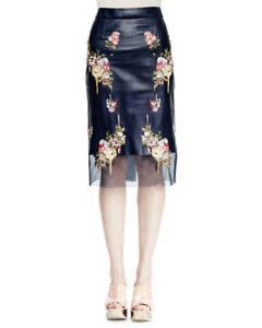 NEW Alexander McQueen Floral-Embroidered Leather Skirt InkMulti -Size 40 #SK52