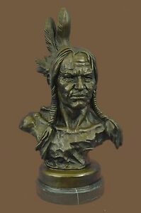 Native American Indian Chief Signed Bronze Bust Sculpture Statue Western Decor