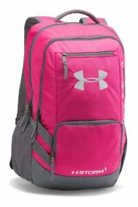 Under Armour UA Hustle 2 Storm 1 Tropic Pink Gray Backpack Bag 1272782