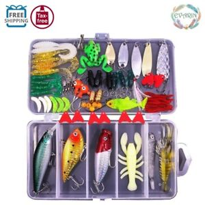 77 Pcs Fishing Lures Kit Set Hook For Bass Trout Salmon Spoon Worms Baits Tackle