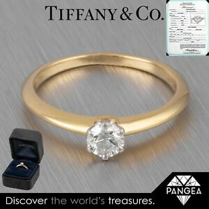 Tiffany & Co. 18k Yellow Gold Round Solitaire Bridal Ring 0.31 VS2 Box & Papers