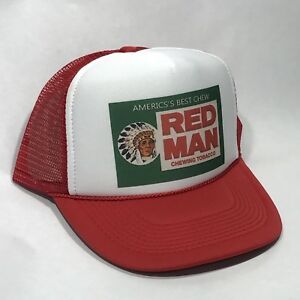 Red Man Tobacco Trucker Hat Old Chew Pouch Logo! Vintage Snapback Cap! Red