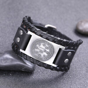 The Sigil of Archangel Thavael Talisman Charm Wide Leather Bracelet for Men