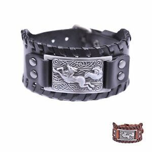 Viking Running Teen Wolf Celtic Knot Amulet Charm Wide Leather Bracelet for Men