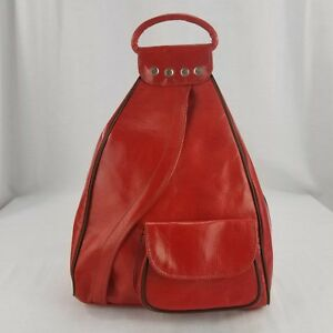 Handcrafted Leather Backpack Purse Red Large Guitare