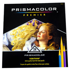 Prismacolor Verithin Colored Pencil Set of 24- hard thin lead for detail drawing