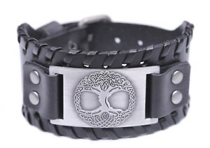 YGGDRASIL Viking World Tree of Life Celtic Knot Wide Leather Bracelet for Men