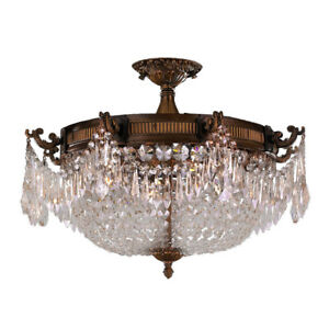 Winchester 4 Light Antique Bronze Crystal Semi Flush Ceiling 24