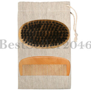 Boar Bristle Beard Brush and Wooden Comb Kit for Men Grooming, Styling