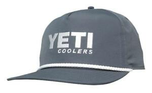 NEW Genuine Yeti Coolers Adjustable Rope Boat Trucker Hat Slate Grey MSRP $24.99