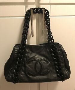 Black Leather Chanel Handbag with Patent Leather CC Logo