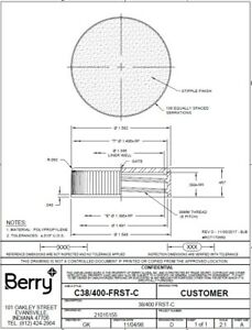 Cap 38400 Black Ribbed PET Heat Induction Tri Tab Seal - Mfg by Berry