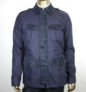 $2950 Gucci Men's Midnight Blue CottonPoly Washed Gabardine Jacket 406019 4080