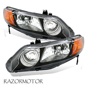 2006 2011 Replacement Headlight Pair For Honda Civic 4 Dr Sedan Black Housing