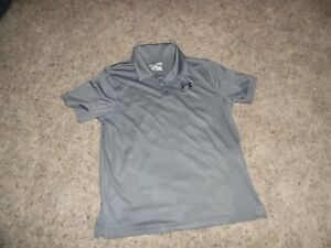 BOYS UNDER ARMOUR GRAY POLO SHIRT - GREAT FOR GOLF - SIZE YOUTH LARGE