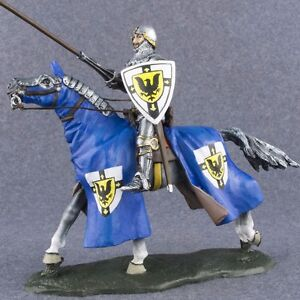 Hand Painted Army Medieval 132 Knight with Lancer Cavalry Toy Tin Soldier 54mm