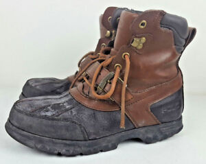 Ralph Lauren Polo Waterproof Boots 2591 Brown Black Leather Hunting Size 9