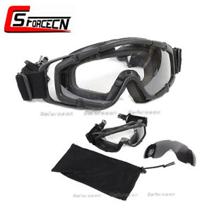 Outdoor Tactical Airsoft Goggle Ballistic Glasses Adjustable for Helmet Black