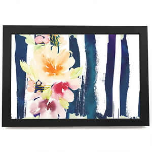 AB1313 Yellow Blue Pink Flower Modern Abstract Framed Wall Art Picture Prints