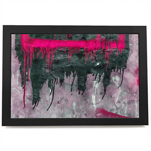 AB1506 Pink Black Grey Cool Modern Abstract Framed Wall Art Large Picture Prints