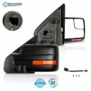 Black Tow Mirrors For 2004 14 Ford F 150 Power Heated Signal Puddle Light Side $117.98