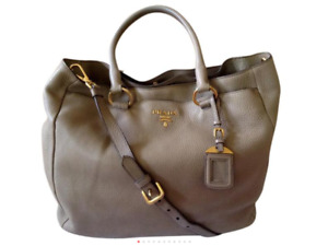 Auth PRADA Agualla Vitello Daino Gold HW Shopping Tote Crossbody Shoulder Bag