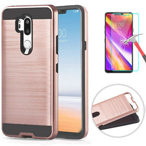 For LG G7 Thin Q G710 Hard Hybrid Layer Phone Case Cover+Glass Screen Protector