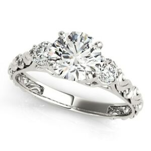 14k White Gold Antique Design 3 Stone Diamond Engagement Ring (1 34 cttw)
