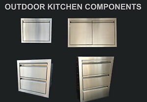 OUTDOOR KITCHEN BBQ ISLAND COMPONENTS 304 STAINLESS STEEL ACCESS DOOR AND DRAWER
