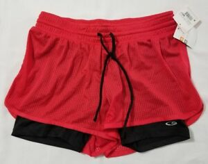 New Women's Champion Red & Black Duo Dry Power Core Short W Inner Shorts Size S