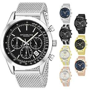 Stuhrling Steel Case & Mesh Bracelet Round 44mm Chronograph Date Mens Watch 3975