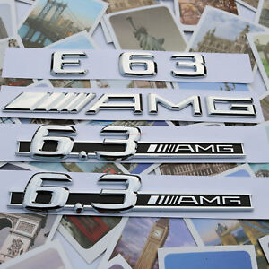 Chrome E63 AMG  6.3 AMG Letters Trunk Embl Badge Sticker for Mercedes Benz