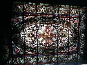 La Farge Rare Leaded Stained Glass Window King Crown Approx (45x87