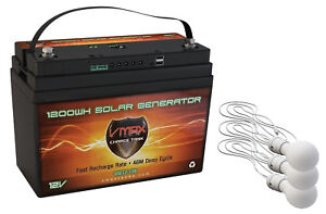 VSG12 100AH AGM Battery 3 LED Lights Solar Controller Camping Tent Power Supply