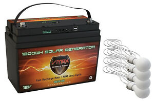 VSG12 100AH AGM Battery 4 LED Lights Solar Controller Camping Tent Power Supply