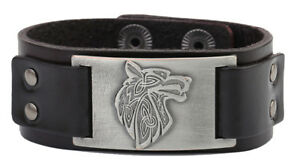 Pagan Celtic Knot Wolf Fenrir Crafts Connector Punk Leather Bracelet for Men