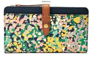 FOSSIL women's FIONA TAB CLUTCH WALLET Print Leather Pink Floral Blue Green nwt