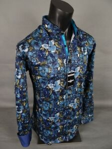 Mens BARABAS Designer Shirt Tropical Navy And Teal Floral Button Up CLASSIC FIT