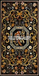 Black Marble Dining Table Top Traditional Parrot Arts Inlaid Mosaic Decor H4008