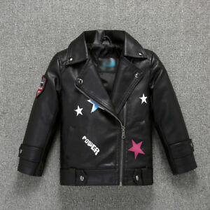 New Kids Boys Girls High-quality Leather Jacket Spring Coat Biker Cool Outerwear