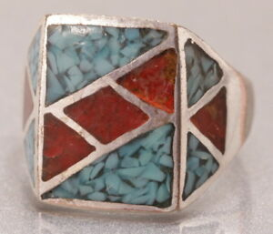 SOUTHWESTERN Chip Turquoise Coral Channel Inlay Men's Sterling Silver Ring~ Sz10
