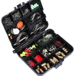 128pcs Assorted Fishing Tackle Set Box Hook Spoon Sinker Swivel Sequin Leader
