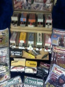 VINTAGE WOODEN FISHING TACKLE BOX & LURES REEL GENERAL STORE DISPLAY MAN CAVE