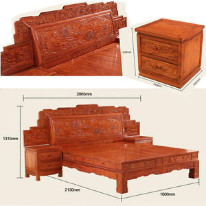 Ming Dy Style rosewood solid wood furniture King Size Bed and Beside table #A9