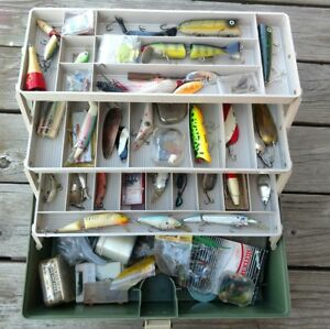 Vintage PLANO 6300 N Fishing Tackle Box USA Full wBass Pike Lures New old stock