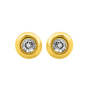 IGI Certified New 10k Yellow Gold Brilliant Cut white Diamond Earrings(0.05 Ct)