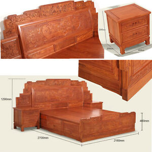 Ming Dy Style rosewood solid wood furniture King Size Bed and Beside table #A10